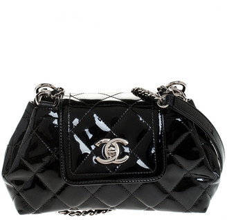 Chanel Black Quilted Patent Leather Crossbody Bag