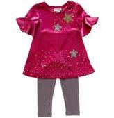 Flapdoodles Little Girls 2T-6X Star-Printed Velvet Shift Dress & Printed Leggings Set