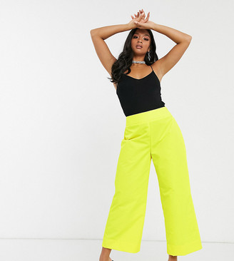 ASOS DESIGN Petite wide leg shell pants in bright yellow