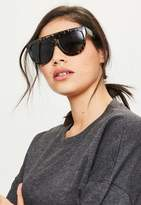 Missguided Black Flat Bar Leopard Sunglasses
