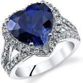 Ice 6 1/2 CT TW Lab-Created Blue Sapphire Sterling Silver Halo Fashion Ring with CZ Accents