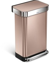 Simplehuman Rectangular Step Trash Can with Liner Pocket, Stainless Steel, 45 L / 11.9 Gal
