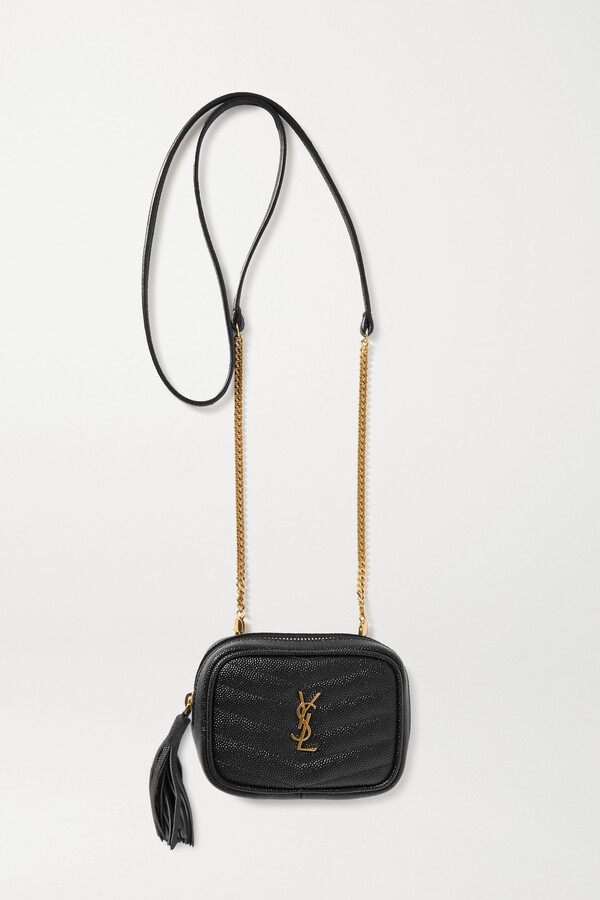 Thumbnail for your product : Saint Laurent Lou Baby Quilted Textured-leather Shoulder Bag - Black