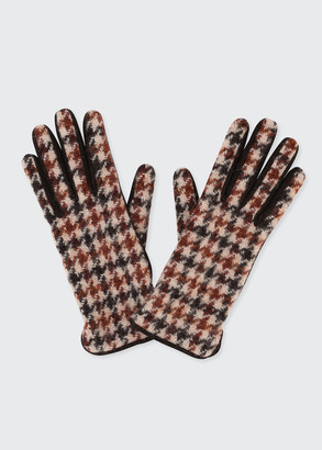 Loro Piana Fall Rhapsody Houndstooth-Print Suede Gloves