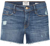 Frame Le Cutoff Distressed Stretch-denim Shorts - Mid denim