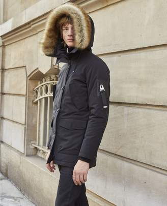 The Kooples Long black parka with hood and faux fur trim