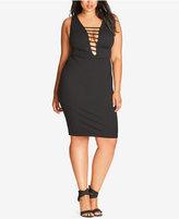 City Chic Trendy Plus Size Strappy Bodycon Dress