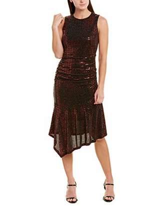 Donna Morgan Women's Stretch Metallic Knit Sleeveless Ruffle Skirt Dress