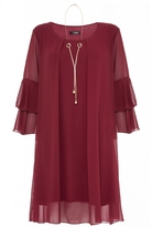 Quiz Berry Frill Sleeve Necklace Tunic Dress