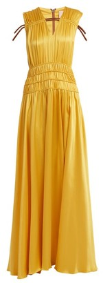 Roksanda Brona Gathered Rope-detail Silk-satin Gown - Yellow