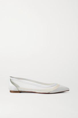 Christian Louboutin Galativi Leather And Mesh Point-toe Flats