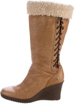 UGG Leather Knee-High Wedge Boots