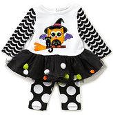 Rare Editions Baby Girls 3-24 Months Halloween Owl Dress & Dotted Leggings Set