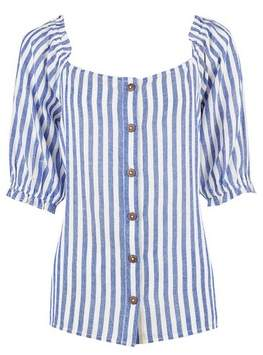 Dorothy Perkins Womens Blue Stripe Top With Linen, Blue