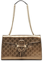 Gucci Emily Guccissima Leather Shoulder Bag, Bronze
