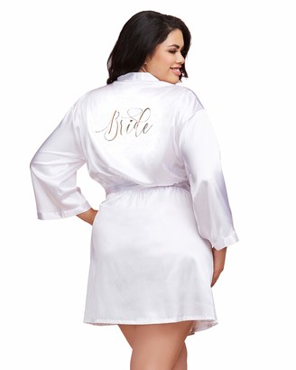 Dreamgirl Women's Plus Size Satin Charmeuse Bride Robe with Front Tie Belt
