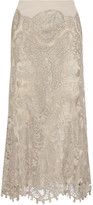 Donna Karan Stretch-jersey, Macramé Lace And Tulle Maxi Skirt - Beige