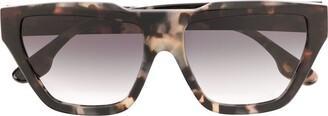 Victoria Beckham Square Tortoiseshell Sunglasses