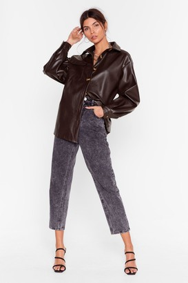 Nasty Gal Womens Faux Leather a Dull Moment Relaxed Shirt - Chocolate