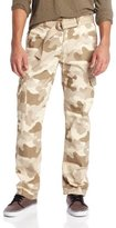 Southpole Men's Basic Cargo Long Camo Pant with Color Matching Belt