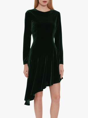 Gina Bacconi Olive Velvet Asymmetric Dress