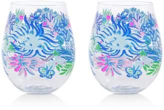 Lilly Pulitzer Lion Around Acrylic Wine Glasses, Set of 2