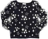MonnaLisa Stars Embroidered Tulle & Jersey Top