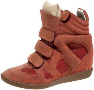 Isabel Marant Indian Red Suede Bekett Wedge Sneakers Size 39