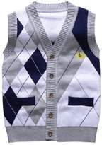 Happy Cherry Blends Sweater Vest Kids Boys Classic Rhombous Waistcoat 3T