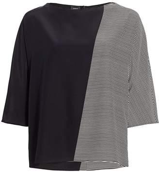 Akris Trapezoid Stripe Silk Crepe Tunic