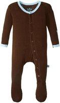 Kickee Pants Solid Footie (Baby) - Bark Pond - Newborn