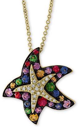 "Effy Multi-Sapphire (1-1/10 ct. t.w.) & Diamond (1/10 ct. t.w.) 18"" Starfish Pendant Necklace in 14k Gold"