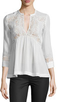 Rebecca Taylor 3/4-Sleeve Silk & Lace Top