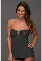 DKNY Mini Maxi Dot Bandeau Tankini Top (Black/Ivory) - Apparel
