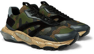 Valentino Garavani Bounce Leather, Suede And Mesh Sneakers