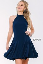 Jovani High Halter A-Line Jersey Cocktail Dress 42455