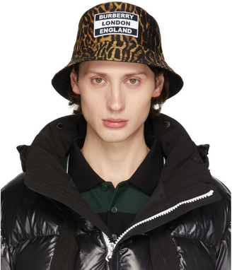 Burberry Reversible Black and Tan Leopard Print Bucket Hat