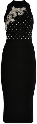 Balmain Embroidered Knit Midi Dress