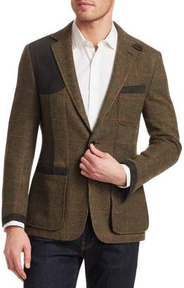 Ralph Lauren Purple Label Wool Tick-Weave Windowpane Sport Jacket