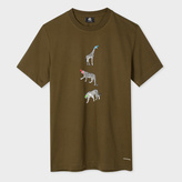 Paul Smith Men's Slim-Fit Khaki Supima-Cotton 'Animal' Print T-Shirt
