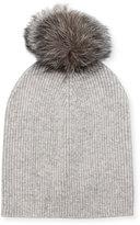 Neiman Marcus Cashmere Slouchy Fox Fur Pompom Hat, Light Gray