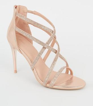 New Look Metallic Strappy Diamante Stilettos