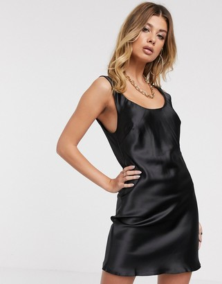 ASOS DESIGN scoop neck mini satin slip dress in black
