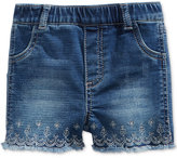 First Impressions Embroidered Denim Shorts, Baby Girls (0-24 months), Only at Macy's