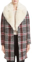 Carven Women's Plaid Coat With Removable Faux Fur Collar