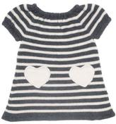 Oeuf Heart Dress in White / Dark Grey Stripes