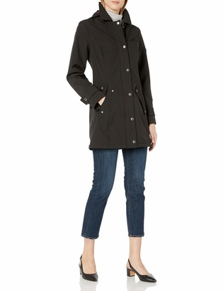 Tommy Hilfiger Women's Water Resistant Traditional Soft Shell Rain Jacket with Removable Hood