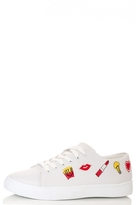 Quiz White PU Embroidered Trainers