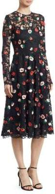Lela Rose Women's Long Sleeve Floral Lace Midi Dress - Black Rose - Size 12