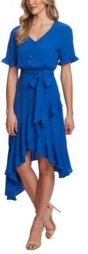 CeCe Ruffle-Hem Belted Fit & Flare Dress